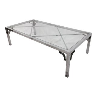 Vintage Mid-Century Modern Chrome & Glass Coffee Table