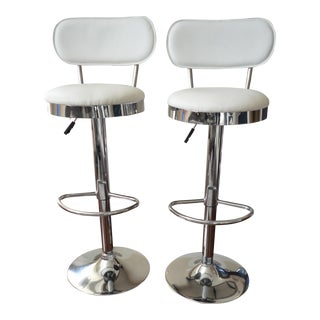 Adjustable White Leatherette Nickel Bar Stools - A Pair