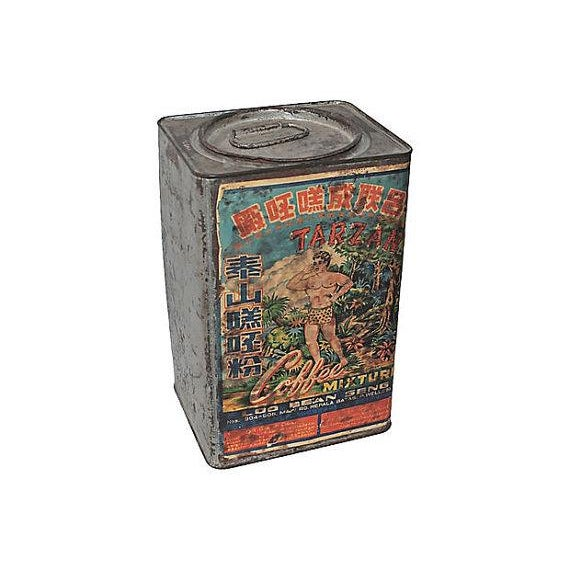 Image of Tarzan Coffee Tin With Graphics, 1920s