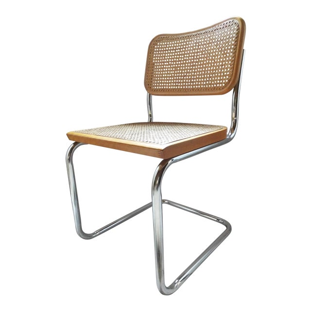 Image of Vintage Marcel Breuer Style Chrome & Cane Chair