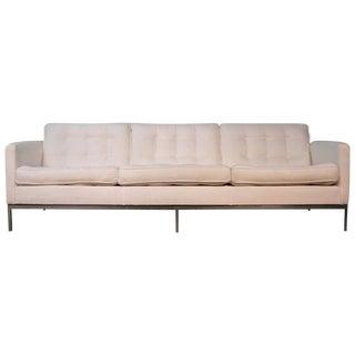 Florence Knoll White Three-Seat Sofa