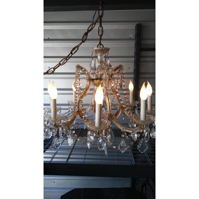 Vintage French Crystal 8 Light Chandelier - Image 7 of 7