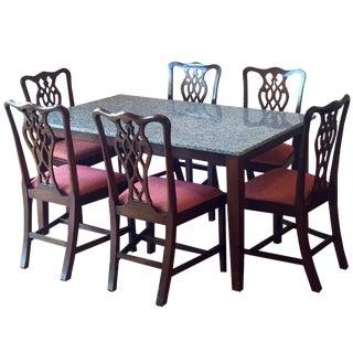 Granite Top Dining Set - Set of 7