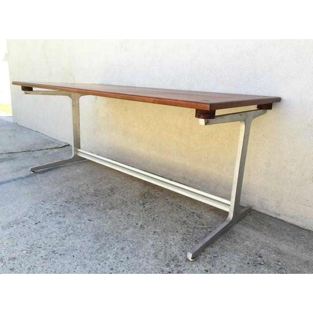 Mid-Century Industrial Metal & Walnut Desk - Image 4 of 11