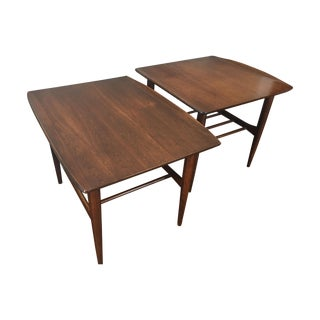 Mid Century Walnut Surfboard Bassett Tables - Pair