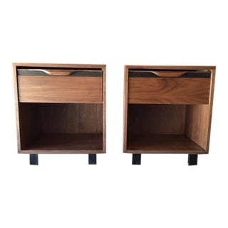 Custom Mid-Century Walnut Nightstands - A Pair