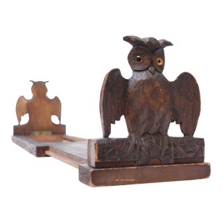 Early 20th Century Carved Owl Expandable Bookrack / Bookends