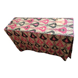 Pink & Indigo Ikat Skirted Console Table