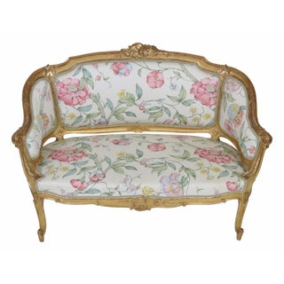 Antique French Gilt Carved Settee