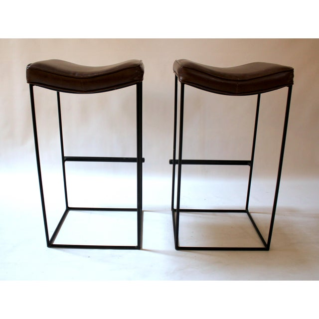 Mid-Century Modern Upholstered Iron Bar Stools - A Pair - Image 5 of 10