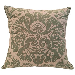 "Fortuny ""DeMedici"" Apple Green & White Pillow"