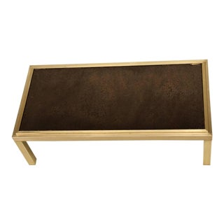 French Brass and Mirror Coffee Table, circa 1960s