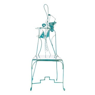 Sculptural Turquoise Metal & Lucite Chair