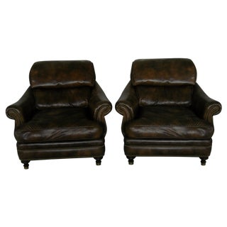 Custom Leather Chairs by Hancock & Moore - A Pair