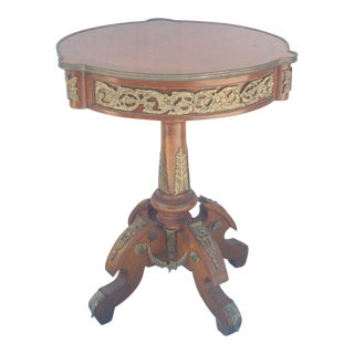 French Style Round Mahogany Pedestal Lamp Table with Ormolu Mounts