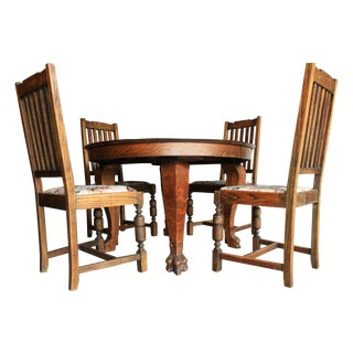 Antique Clawfoot Farm Table Dining Set