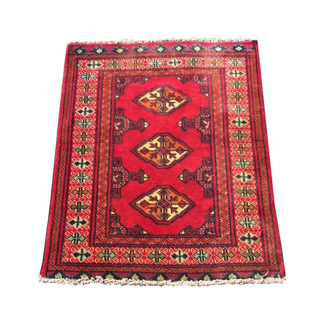 "Vintage Turkaman Red Persian Rug - 2'2"" x 2'9"" - Image 1 of 7"