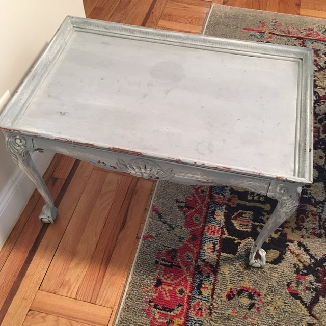 Light Blue Distressed Clawfoot Wooden Coffee Table - Image 5 of 5