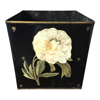 Antique Tole Decoupage Botanical Cachepot