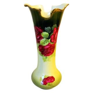 Bavaria Red Rose Porcelain Vase, Signed Braun