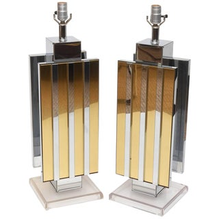 Lucite Brass & Mirrored Chrome Table Lamps - Pair