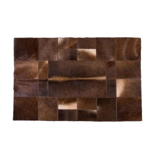 "Modern Handmade Cowhide Patchwork Area Rug - 6'6"" x 4'7"""