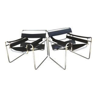 Mid-Century Black Wassily Chairs - a Pair