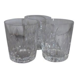 "Art Glasses Cut Crystal Tumblers Signed ""Vsl"" - Set of 3"