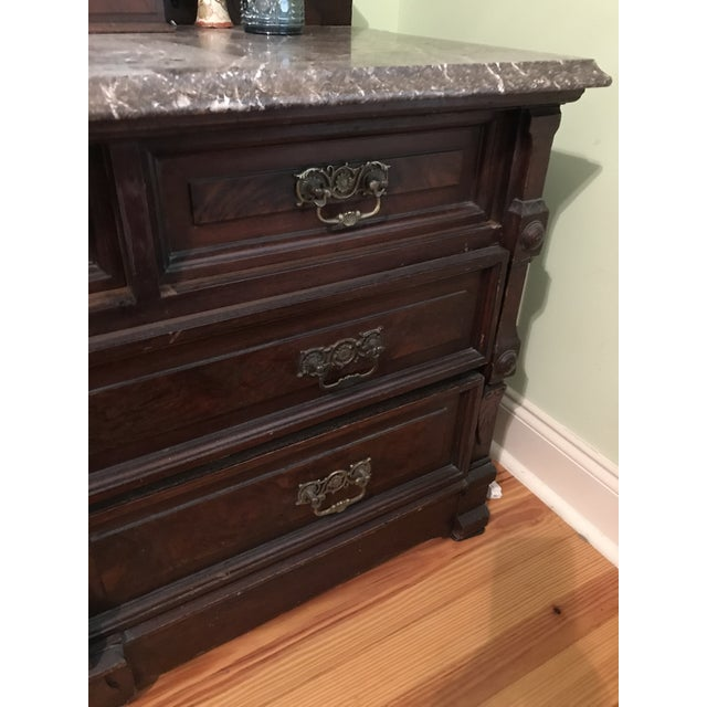 Walnut Renaissance Revival Vanity Dresser with Marble Top - Image 10 of 11