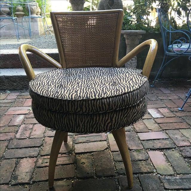 Zebra Upholstered Cane Back Swivel Chair - Image 2 of 7