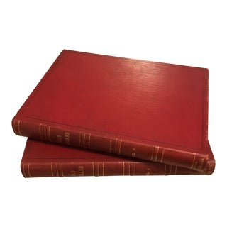 Old England 2 Volume Leather Books - A Pair