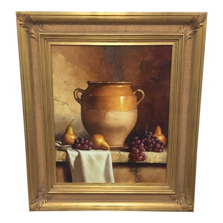 """Custom Framed Giclee Print """"Confit Jar With Pears and Grapes"""" by Loran Speck"""