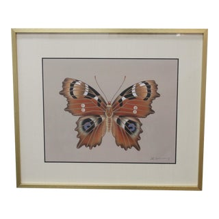 Vintage Framed Butterfly Painting