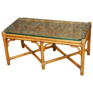 Diminutive Bamboo and Rattan Coffee Table by McGuire