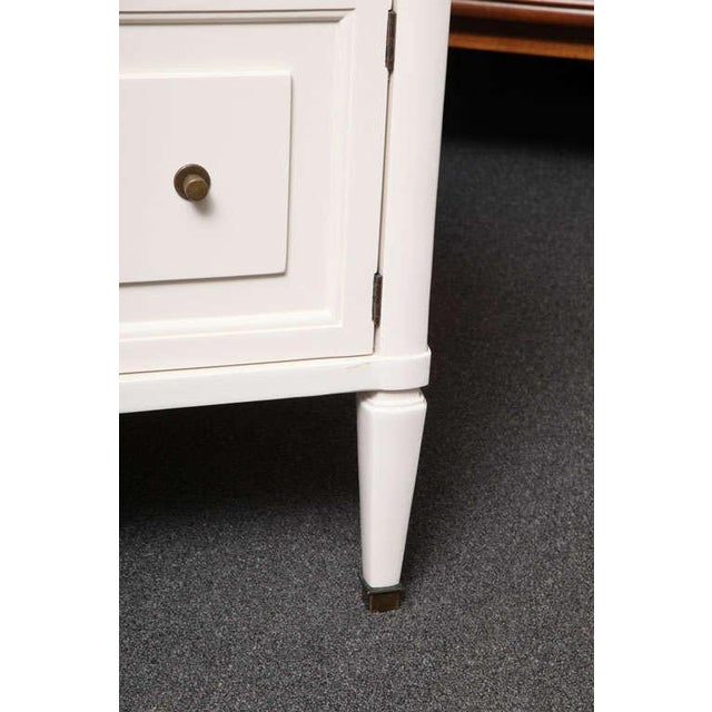 Image of Chic Modern Neoclassical Nightstands with Travertine Tops