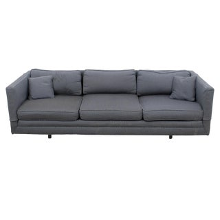 Knoll-Style Blue & White Upholstery Sofa