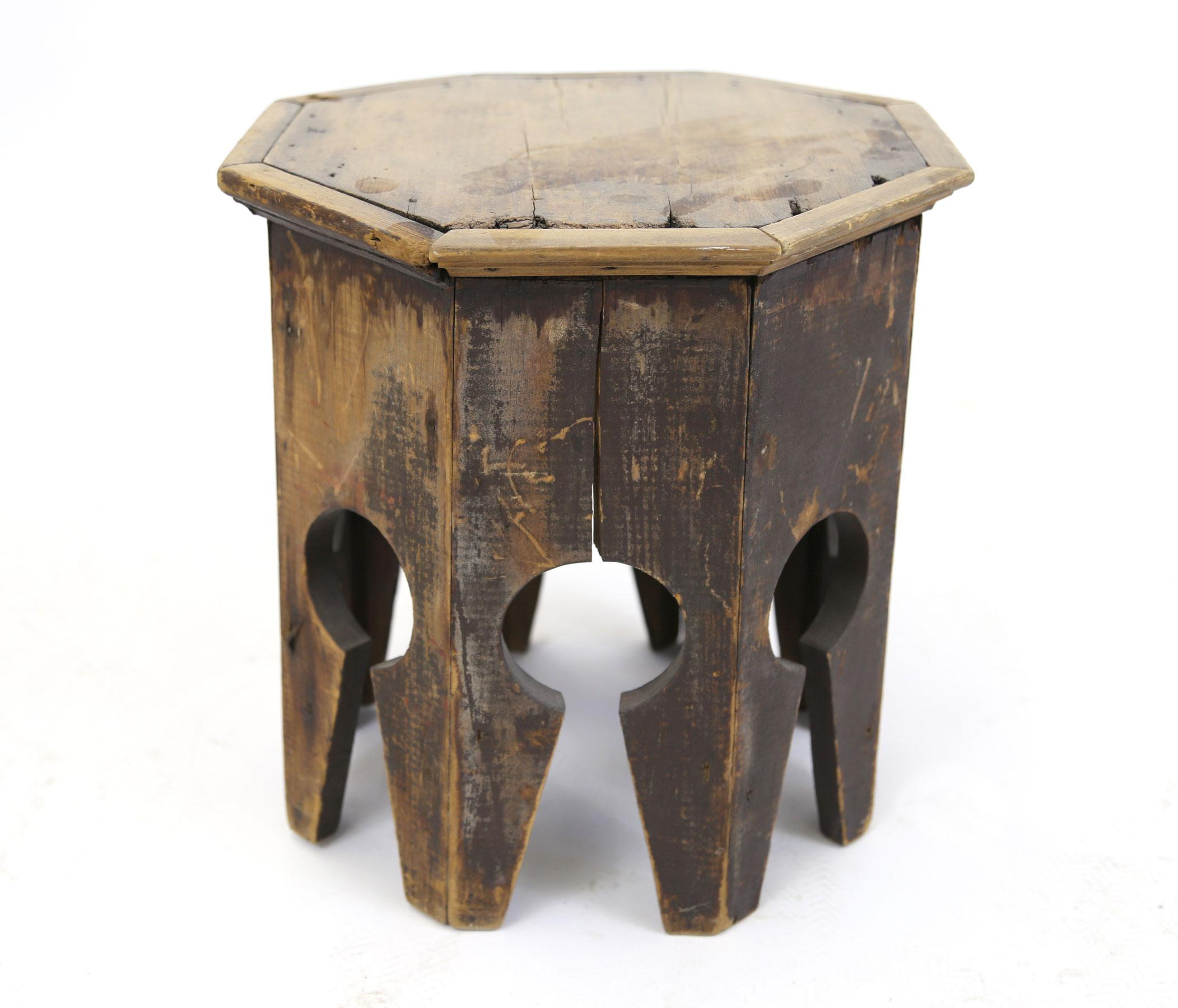 Indian Persian Primitive Wooden Side Table   Image 5 Of 7