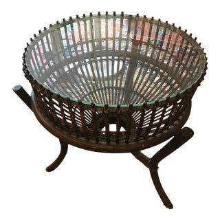 Franco Albini Rattan & Bamboo Side Table