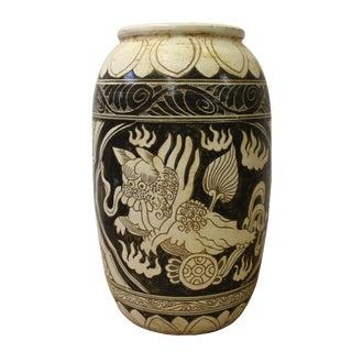Chinese Cizhou Ware Ceramic Black Underglaze Foo Dogs Round Vase