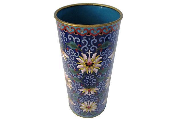 Large Chinese Cloisonn 233 Brass Amp Enamel Vase Chairish