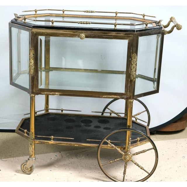 Image of Bronze Tray Top Showcase Serving Carts - Pair