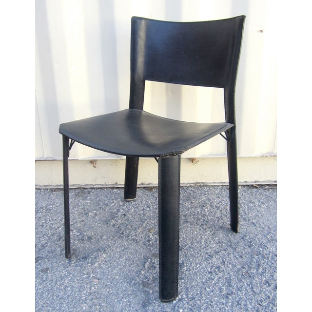 Black Leather Dining Chairs - Set of 4 - Image 5 of 6