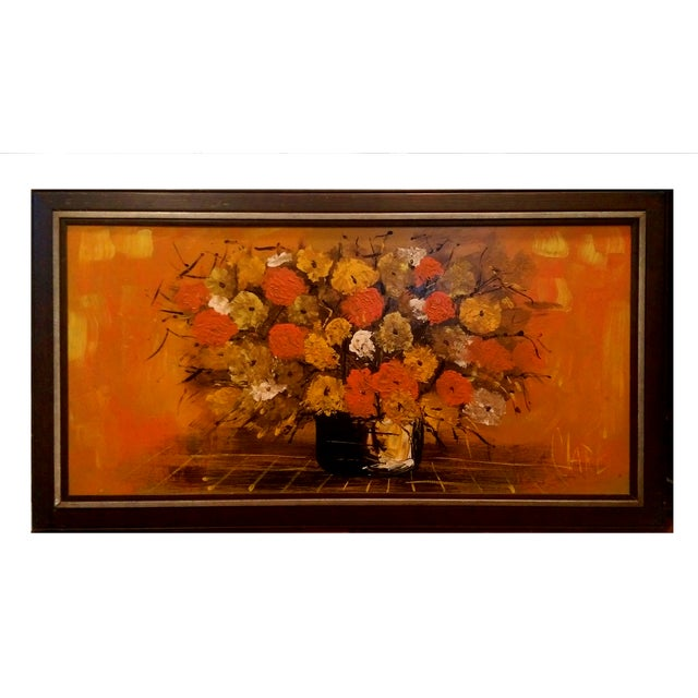 """Mid Century Floral Painting - Signed """"Clare"""" - Image 1 of 10"""
