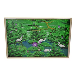 Large Art Deco Textile Art Painting Professionally Framed