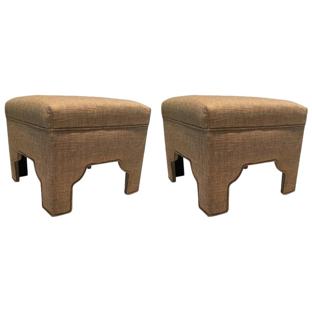 Wheat Colored Linen & Cotton Ottomans - A Pair - Image 1 of 6