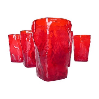 Mid-Century Red Bar Glass - Set of 7