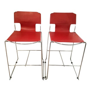 Mid-Century Red Leather & Chrome Bar Stools - A Pair