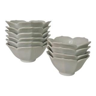 Mid-Century Modern Lotus Blossom Dessert Bowls - Set of 10