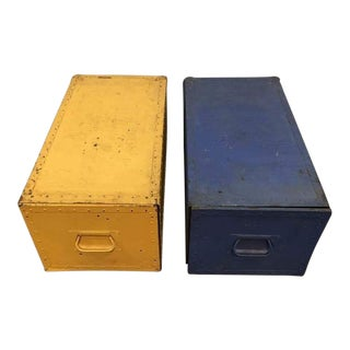 Vintage Blue & Yellow Painted Metal Filing Cabinets - A Pair