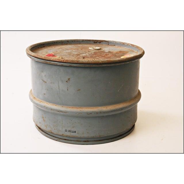Vintage Industrial Gray Metal Barrel with Lid - Image 2 of 11